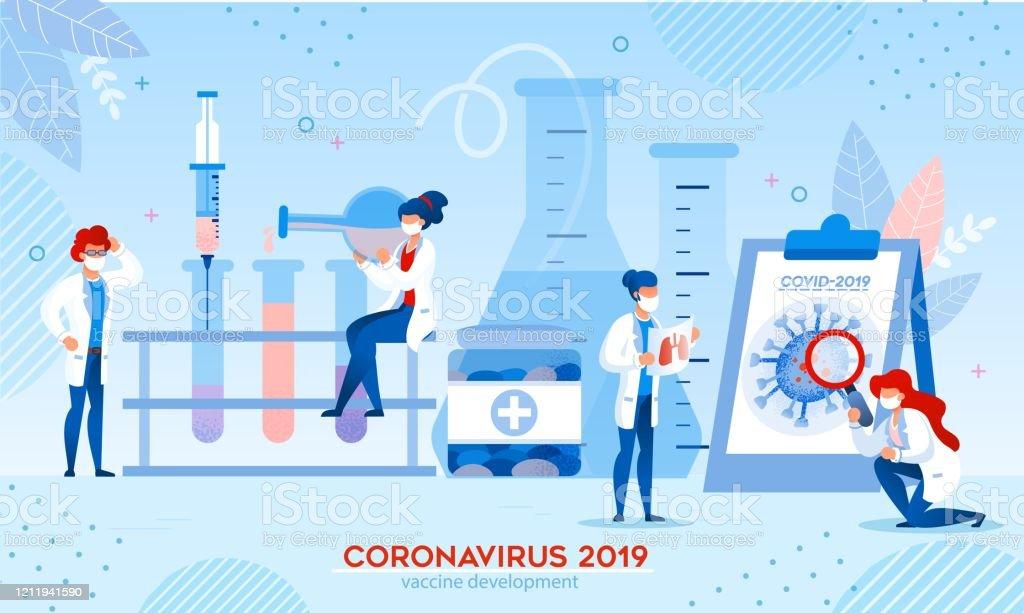 실험실에서 코로나바이러스 백신 연구 개발 - 로열티 프리 COVID-19 벡터 아트