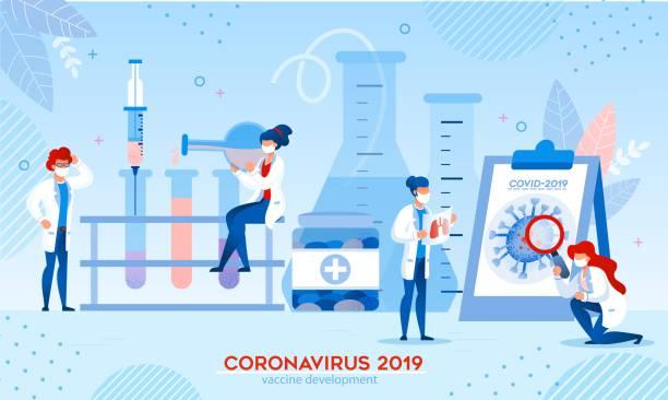 ilustraciones, imágenes clip art, dibujos animados e iconos de stock de desarrollo de la investigación de la vacuna con coronavirus en el laboratorio - covid 19 vaccine