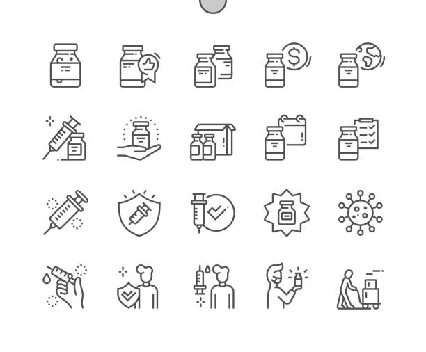 stockillustraties, clipart, cartoons en iconen met coronavirusvaccin goed gemaakte pixel perfect vector thin line icons 30 2x grid voor webafbeeldingen en -apps. eenvoudig minimaal pictogram - vaccin