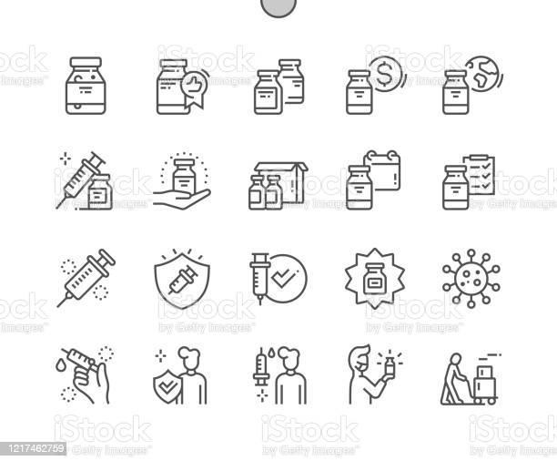 Коронавирусная Вакцина Хорошо Продуманный Pixel Perfect Vector Thin Line Icons 30 2x Grid Для Вебграфики И Приложений Простая Минимальная Пиктограмма — стоковая векторная графика и другие изображения на тему 18-19 лет