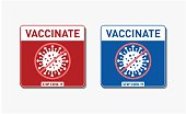 Coronavirus Vacctination Labels. Virus protection concept. Vaccinate Sticker. Stop Covid-19. Vacctination   Sign. Promotion. Encouragement. Vector illustration