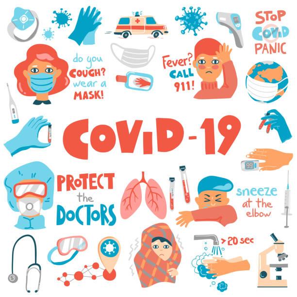 ilustraciones, imágenes clip art, dibujos animados e iconos de stock de conjunto de dibujos animados vectoriales coronavirus. síntomas, equipos y conceptos. composiciones de letras. - covid 19 vaccine