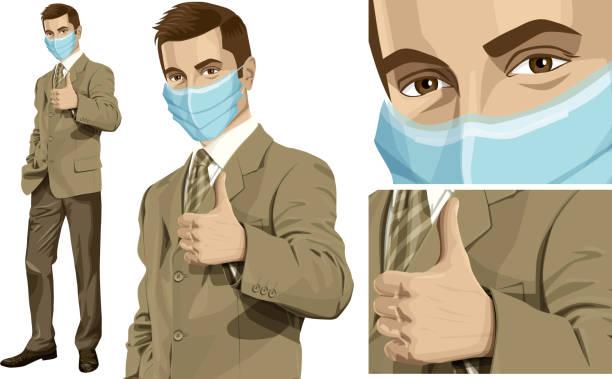 illustrazioni stock, clip art, cartoni animati e icone di tendenza di coronavirus vector concept. man with mask on his face. vector man shows well done - businessman covid mask