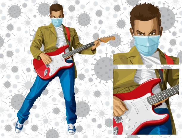 Coronavirus vector concept. Man with mask on his face. Vector punk man with the guitar Coronavirus vector concept. Man with mask on his face. Vector punk man with the guitar biohazardous substance stock illustrations