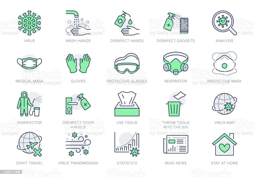 冠狀病毒,病毒預防線圖示。向量插圖包括圖示 - 洗手消毒,面罩,消毒手套輪廓象形圖的資訊圖綠色,可編輯的描邊 - 免版稅2019冠狀病毒病圖庫向量圖形