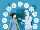 Coronavirus vaccine concept. Covid-19 outbreak prevention icons set.