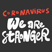 istock Coronavirus we are stronger. Covid-19. Sticker for social media content. Vector hand drawn illustration design. 1256144387