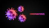 Coronaviruses 3d realistic vector in black background. corona virus cell, wuhan virus disease. Perfect for banner, background.Vector illustration