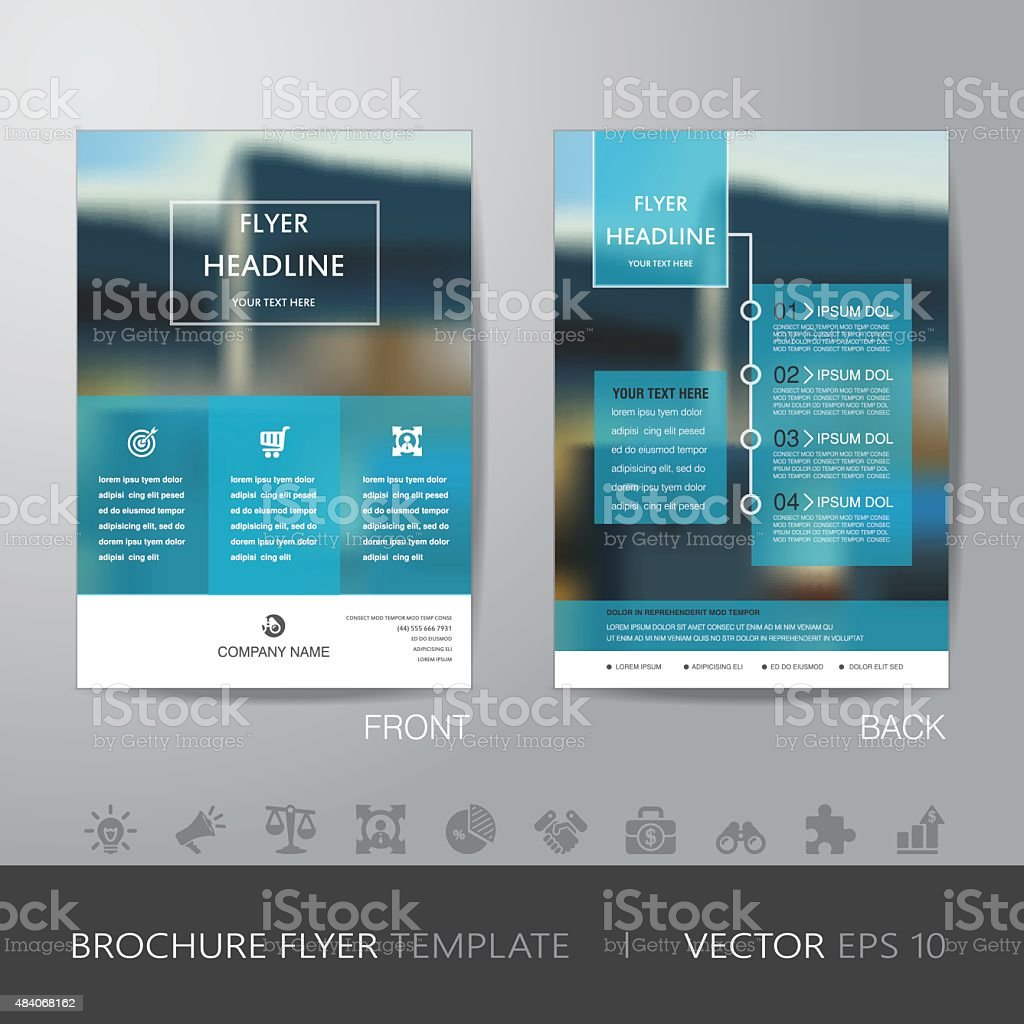 corporate blur background brochure flyer design layout template vector art illustration