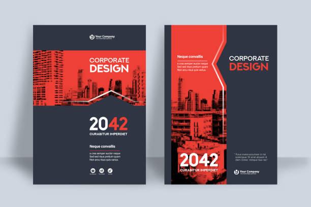 szablon projektu okładki książki korporacyjnej w a4 - broszura stock illustrations