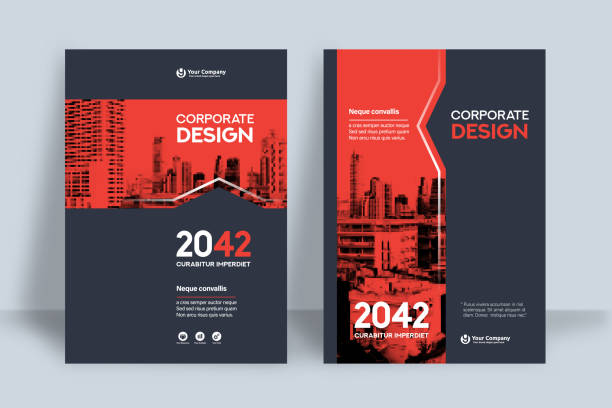 corporate book cover design template in a4 - brochure templates stock illustrations, clip art, cartoons, & icons