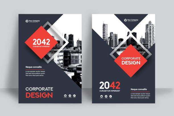 stockillustraties, clipart, cartoons en iconen met corporate boek cover ontwerpsjabloon in a4 - tijdschriftcover