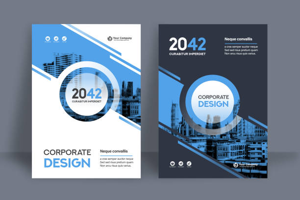 corporate book cover design template in a4 - annual reports templates stock illustrations
