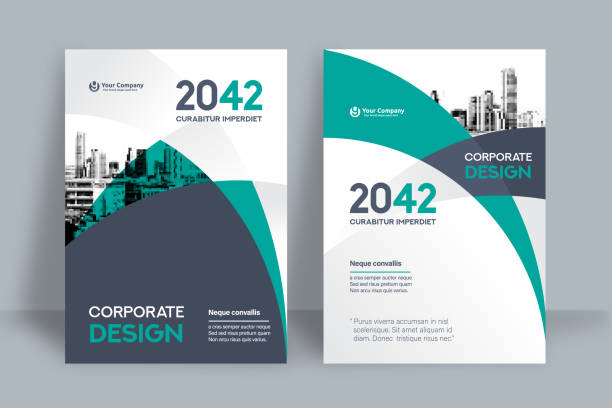 stockillustraties, clipart, cartoons en iconen met corporate boek cover ontwerpsjabloon in a4 - flyer