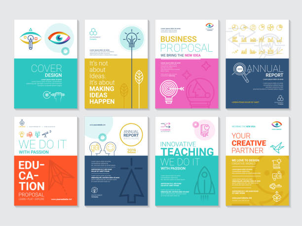 Corporate Book Cover Design Template in A4 Corporate Book Cover Design Template in A4 annual reports templates stock illustrations