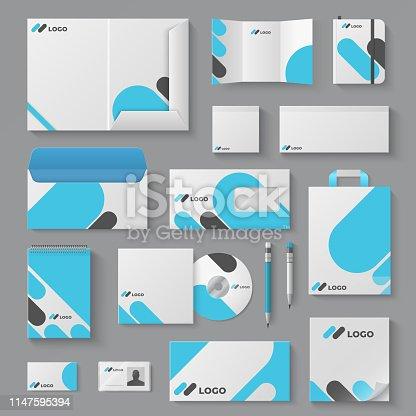 Corporate brand identity. Business stationery mockup branding envelope card mug document presentation. Corporation 3D vector logo template set