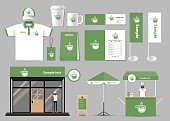 corporate branding for coffee shop and restaurant identity mock up