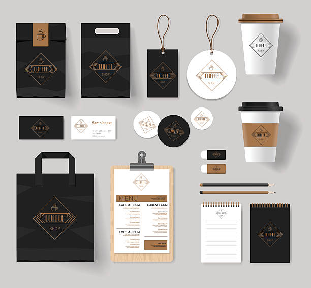 corporate branding  for  coffee shop and restaurant - restaurants stock-grafiken, -clipart, -cartoons und -symbole