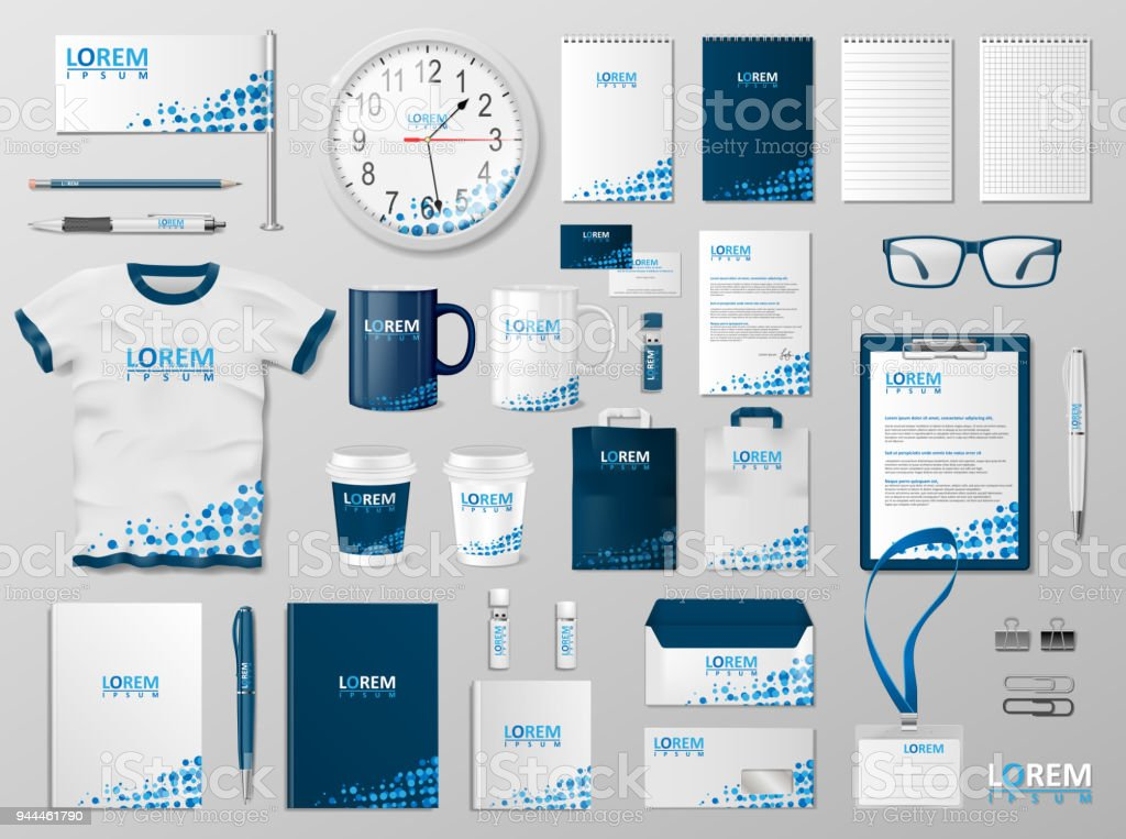 Corporate Branding identity template design. Modern Stationery mockup blue color. Business style stationery and documentation for your brand. Vector illustration vector art illustration