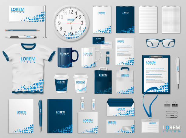 corporate branding identity template design. modern stationery mockup blue color. business style stationery and documentation for your brand. vector illustration - stationery templates stock illustrations