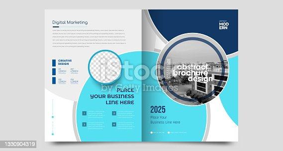 istock Corporate brochure flyer design template 1330904319