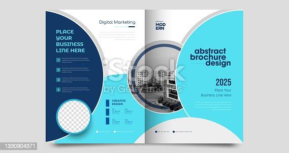 istock Corporate brochure flyer design template 1330904371