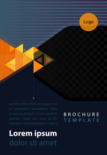 corporate brochure brochure template with provision for image and copy space anniversary drawings stock illustrations