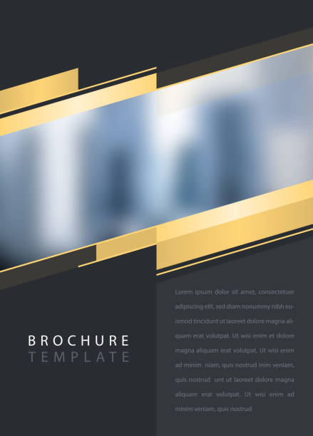 corporate brochure brochure template with provision for image anniversary drawings stock illustrations