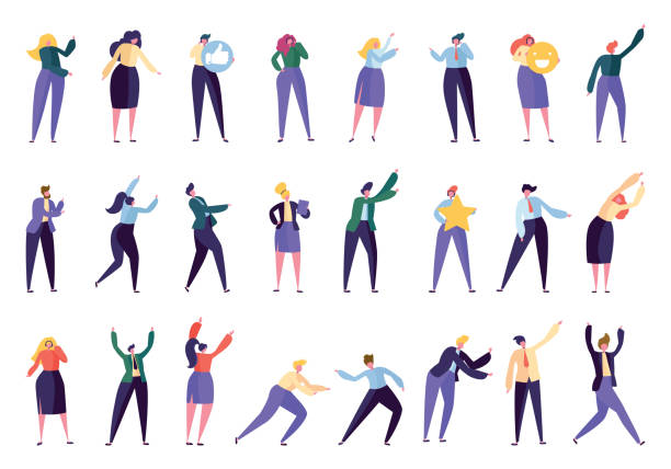 illustrazioni stock, clip art, cartoni animati e icone di tendenza di corporate business assistant help character set. business people work isolated. various office manager team help to achieve success. collection worker community flat cartoon vector illustration - ritratto in ufficio