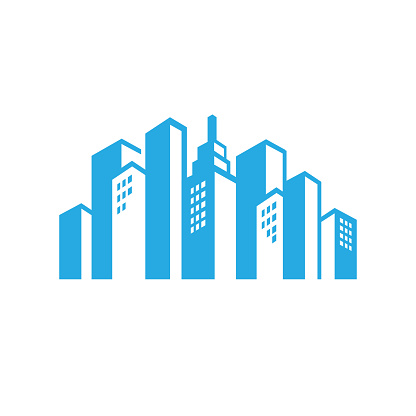 Corporate Business Building vector logo graphic for realty and real estate company