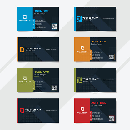 Corporate business card design template with several color options