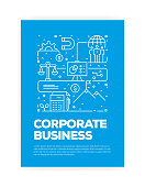 Corporate Business Concept Line Style Cover Design for Annual Report, Flyer, Brochure.