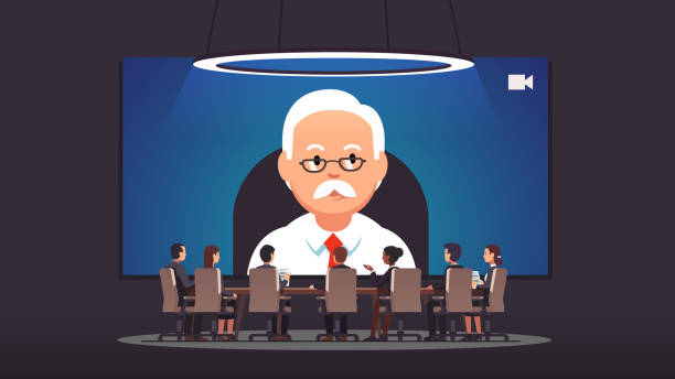 corporate business directors board people video conference call with ceo or business owner of big corporation discussing strategy at headquarters boardroom. modern communication. flat style isolated vector - old man sitting chair clip art stock illustrations, clip art, cartoons, & icons