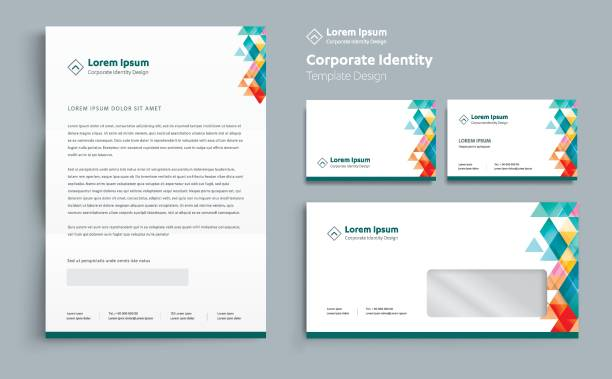 corporate business  identity template design vector abstract stationery , gift items color promotional souvenirs elements. link digital technology set, - stationery templates stock illustrations