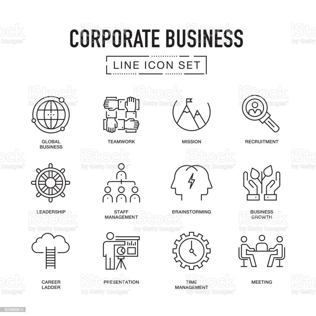Corporate Business Line Icon Set vector art illustration