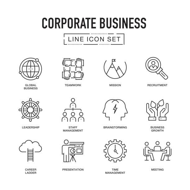 ilustrações, clipart, desenhos animados e ícones de conjunto de ícones de linha de negócios corporativos - gerente de projetos