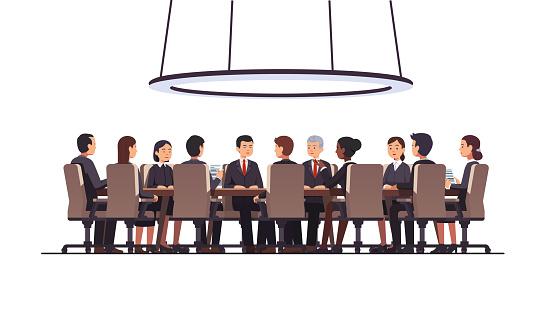 Corporate business man & women people group sitting at big round table. Government politicians & executive officers or directors board discussing strategy. Conference, boardroom or meeting room. Flat style isolated vector