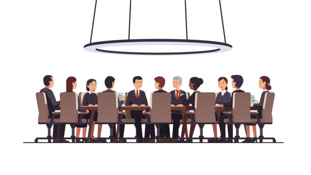 Corporate business man & women people group sitting at big round table. Government politicians & executive officers or directors board discussing strategy. Conference, boardroom or meeting room. Flat style isolated vector Politicians or corporate officers group authority people talks sitting at round table. Big war room. Negotiations conversation conference hall, boardroom or meeting room. Flat vector illustration meeting stock illustrations