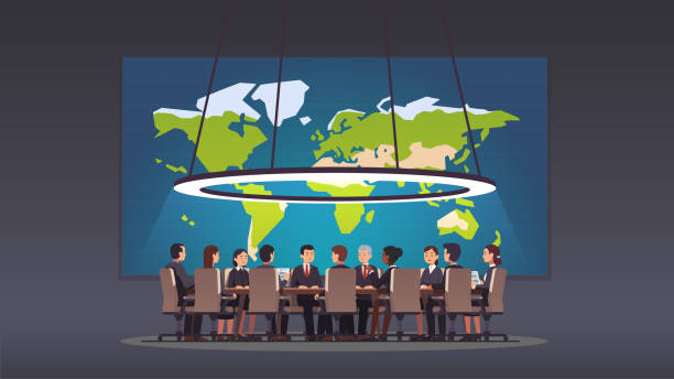 corporate business man & women people sitting at round table in big board room. politicians & executive officers group discussing strategy. big war room with world map. conference hall, boardroom or meeting room. flat style isolated vector - old man sitting chair clip art stock illustrations, clip art, cartoons, & icons
