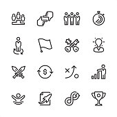 16 line black and white icons / Corporate Business Set #32