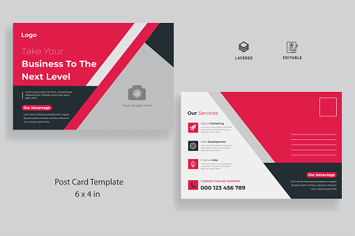 Corporate business postcard template with creative layout vector design