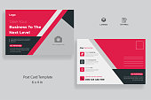 istock Corporate business postcard template with creative layout vector design 1312664219