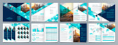 istock Corporate business presentation guide brochure template, Annual report, 16 page minimalist flat geometric business brochure design template, A4 size. 1287215807