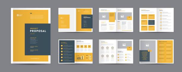 projekt projektu korporacyjnego | raport roczny i broszura firmy | projekt broszury i katalogu - broszura stock illustrations