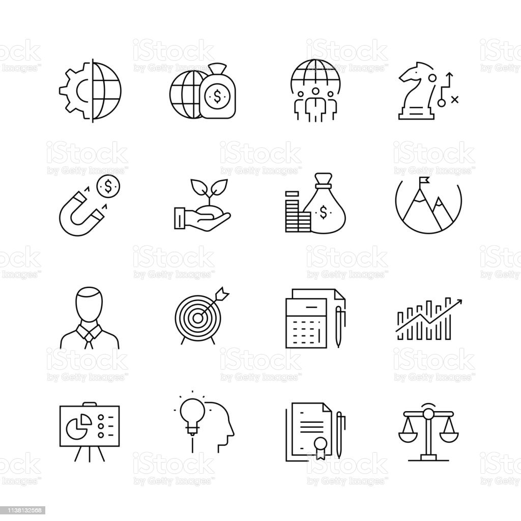 Corporate Business - Set of Thin Line Vector Icons