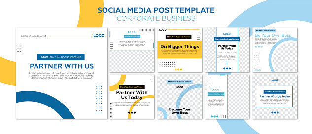 Corporate business social media post - geometric shape design. Yellow, blue and white colors concept.