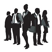 Team of business silhouette people with a business woman at the center