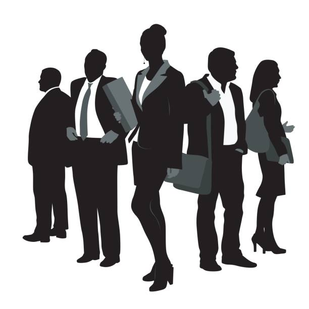 Corporate Business Team Team of business silhouette people with a business woman at the center alternative pose stock illustrations