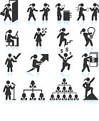 Corporate Businesswoman black & white royalty-free vector interface icon set