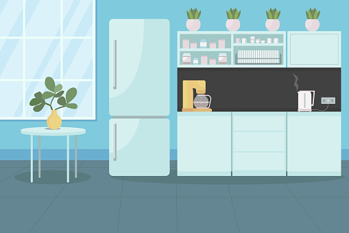 Corporate canteen for employees flat color vector illustration